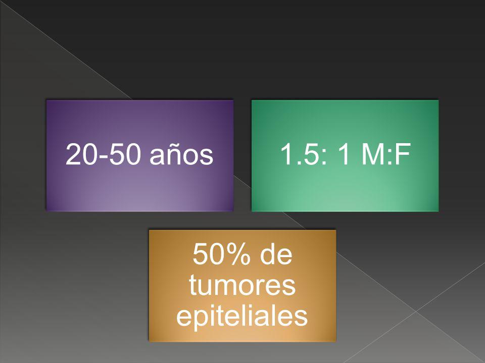 20-50 años1.5: 1 M:F 50% de tumores epiteliales