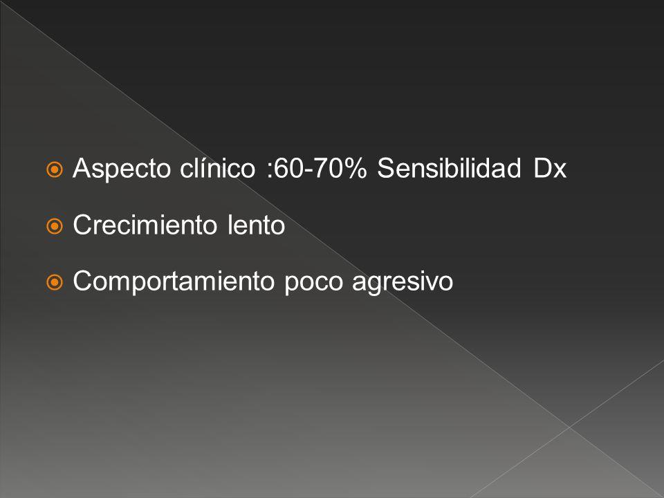 Aspecto clínico :60-70% Sensibilidad Dx Crecimiento lento Comportamiento poco agresivo