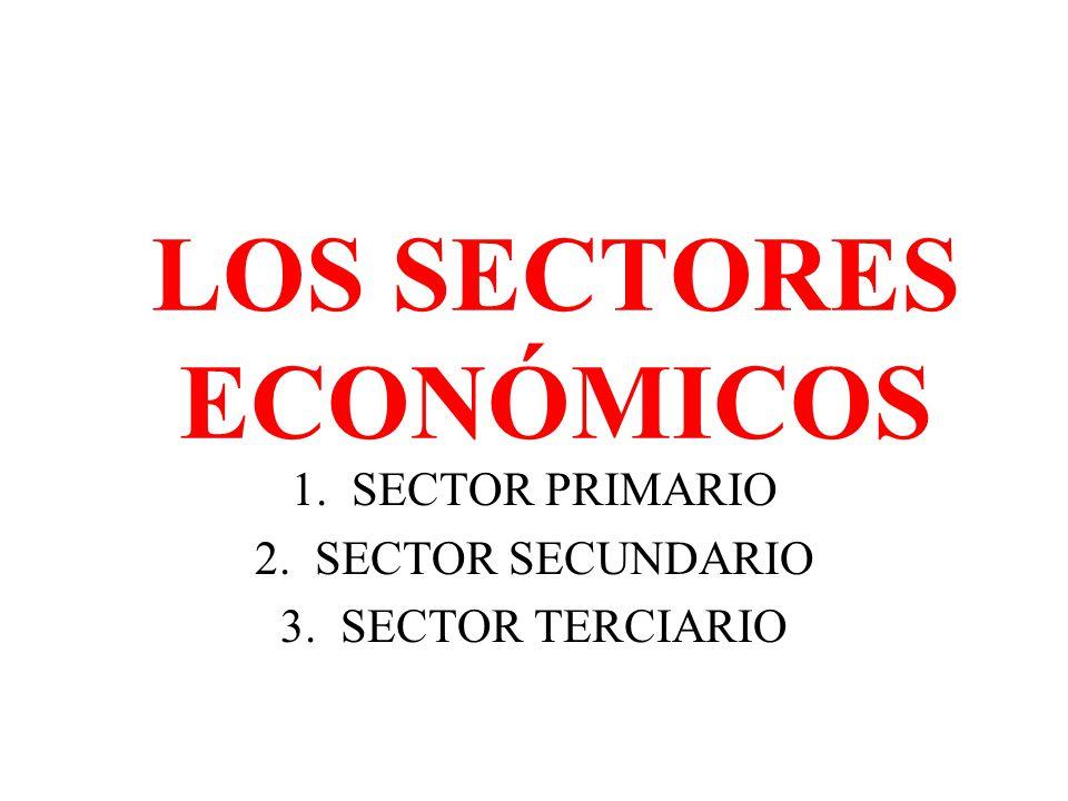 LOS SECTORES ECONÓMICOS 1.SECTOR PRIMARIO 2.SECTOR SECUNDARIO 3.SECTOR TERCIARIO