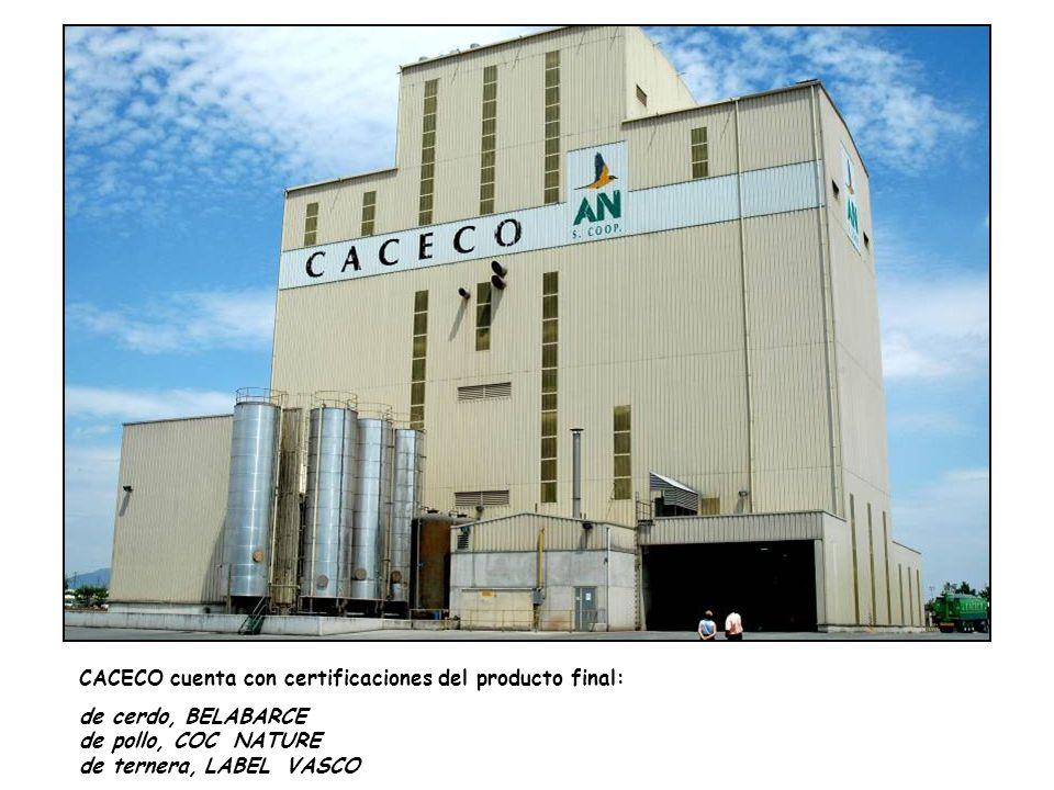 CACECO cuenta con certificaciones del producto final: de cerdo, BELABARCE de pollo, COC NATURE de ternera, LABEL VASCO