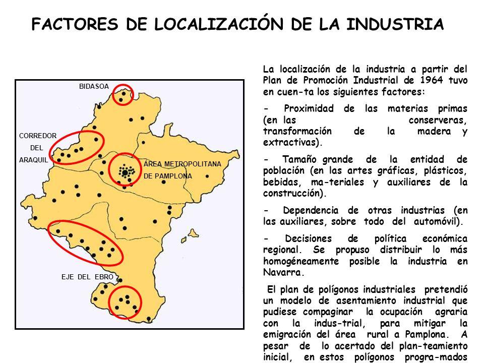 La localización de la industria a partir del Plan de Promoción Industrial de 1964 tuvo en cuen-ta los siguientes factores: - Proximidad de las materias primas (en las conserveras, transformación de la madera y extractivas).