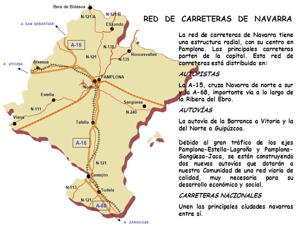 RED DE CARRETERAS DE NAVARRA La red de carreteras de Navarra tiene una estructura radial, con su centro en Pamplona.