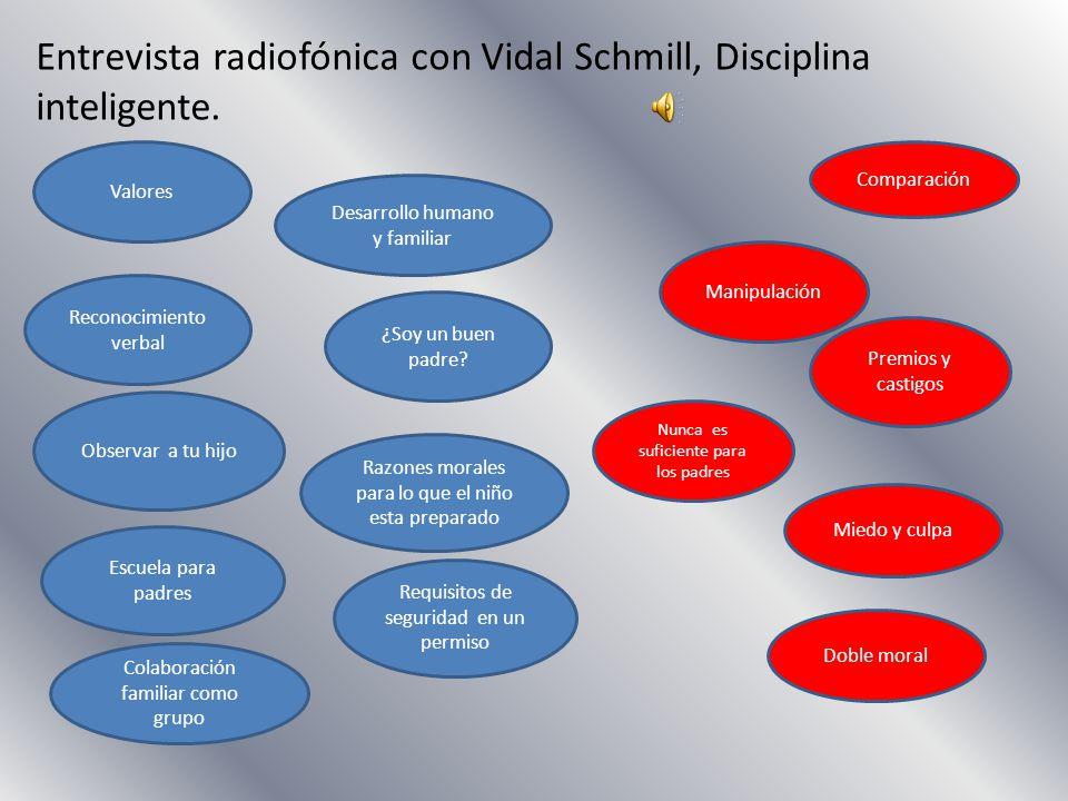 Entrevista radiofónica con Vidal Schmill, Disciplina inteligente. Valores Manipulación Premios y castigos ¿Soy un buen padre? Escuela para padres Desa