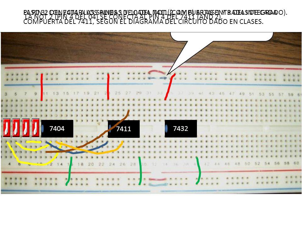 7404 7411 7432 PASO 3: CONECTAR LAS SALIDAS DE CADA NOT (2, 4 Y 6) A LAS ENTRADAS DE CADA COMPUERTA DEL 7411, SEGÚN EL DIAGRAMA DEL CIRCUITO DADO EN C