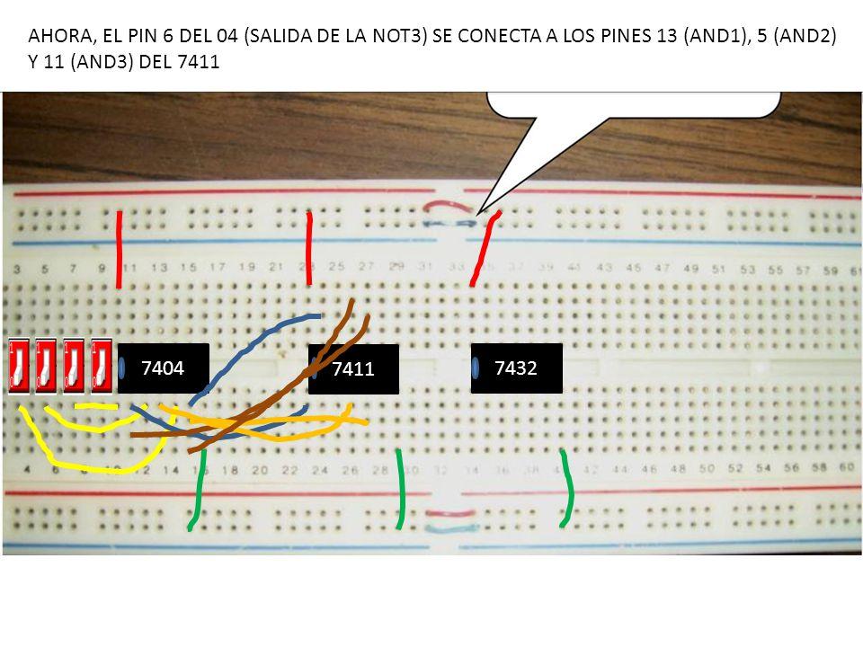 7404 7411 7432 AHORA, EL PIN 6 DEL 04 (SALIDA DE LA NOT3) SE CONECTA A LOS PINES 13 (AND1), 5 (AND2) Y 11 (AND3) DEL 7411