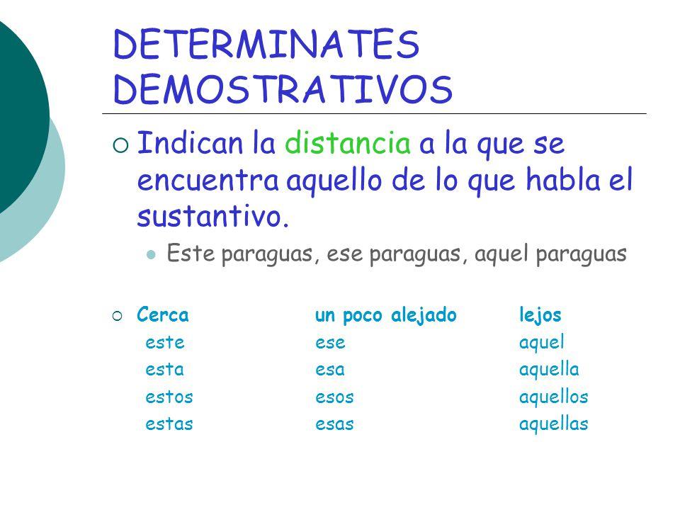DETERMINATES DEMOSTRATIVOS Indican la distancia a la que se encuentra aquello de lo que habla el sustantivo. Este paraguas, ese paraguas, aquel paragu