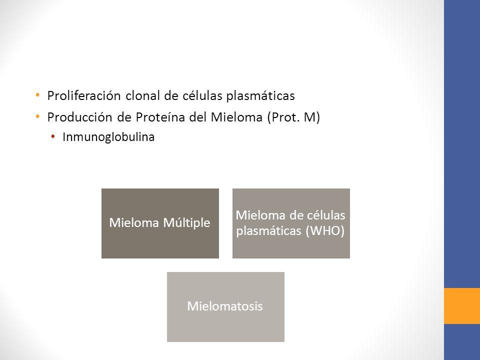 Proliferación clonal de células plasmáticas Producción de Proteína del Mieloma (Prot. M) Inmunoglobulina Mieloma Múltiple Mieloma de células plasmátic