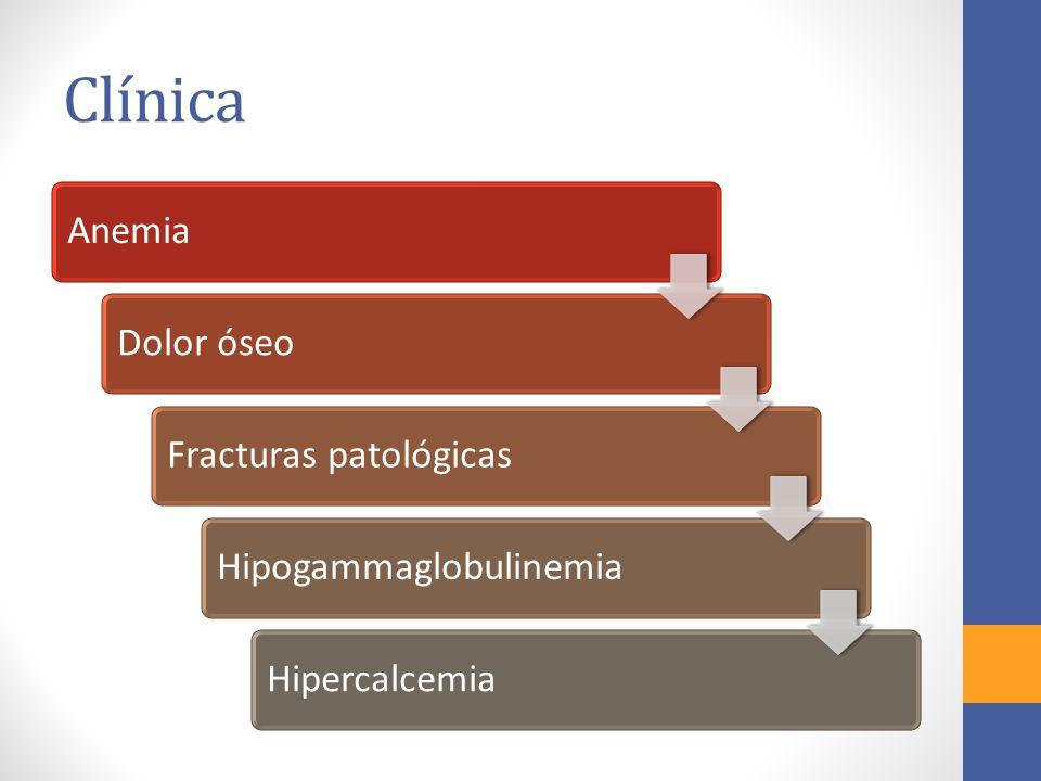 Clínica AnemiaDolor óseoFracturas patológicasHipogammaglobulinemiaHipercalcemia