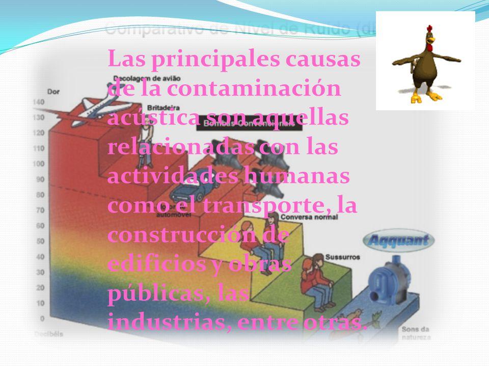 Las principales causas de la contaminación acústica son aquellas relacionadas con las actividades humanas como el transporte, la construcción de edifi