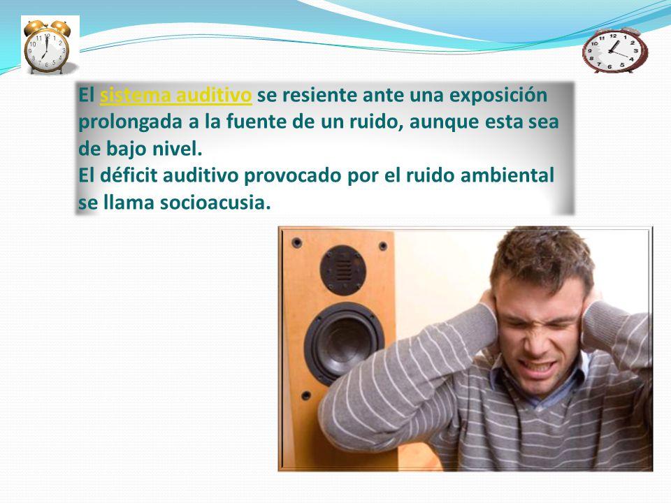 El sistema auditivo se resiente ante una exposición prolongada a la fuente de un ruido, aunque esta sea de bajo nivel.sistema auditivo El déficit audi