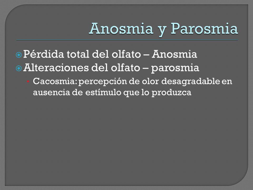 Pérdida total del olfato – Anosmia Alteraciones del olfato – parosmia Cacosmia: percepción de olor desagradable en ausencia de estímulo que lo produzc