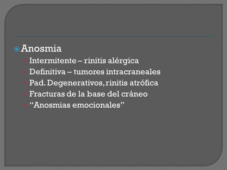 Anosmia Intermitente – rinitis alérgica Definitiva – tumores intracraneales Pad. Degenerativos, rinitis atrófica Fracturas de la base del cráneo Anosm