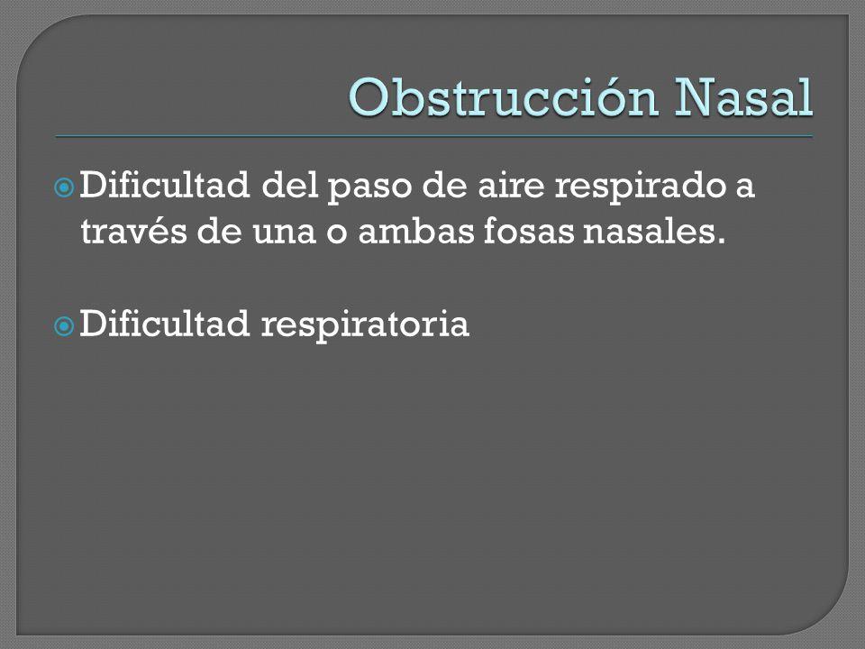 Dificultad del paso de aire respirado a través de una o ambas fosas nasales. Dificultad respiratoria