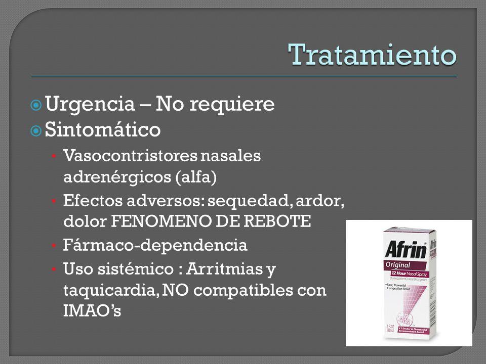 Urgencia – No requiere Sintomático Vasocontristores nasales adrenérgicos (alfa) Efectos adversos: sequedad, ardor, dolor FENOMENO DE REBOTE Fármaco-de
