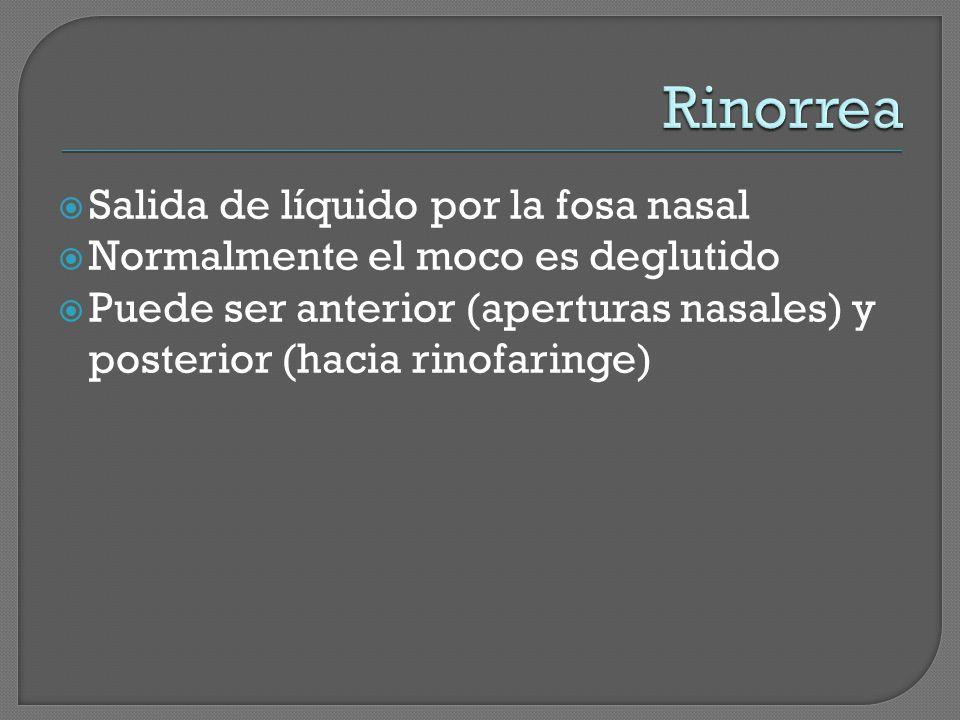 Salida de líquido por la fosa nasal Normalmente el moco es deglutido Puede ser anterior (aperturas nasales) y posterior (hacia rinofaringe)