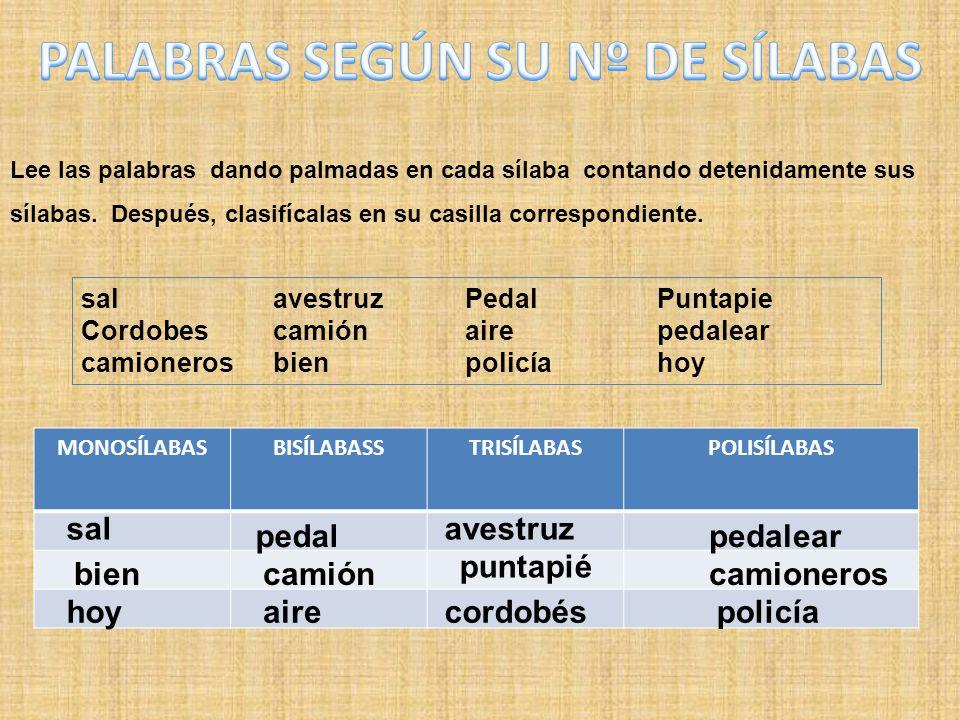Lee las palabras dando palmadas en cada sílaba contando detenidamente sus sílabas. Después, clasifícalas en su casilla correspondiente. salavestruzPed