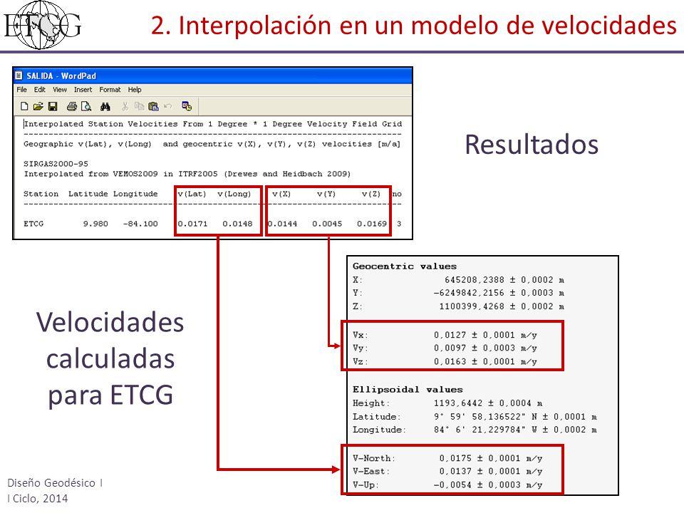 Resultados Velocidades calculadas para ETCG Diseño Geodésico I I Ciclo, 2014 2. Interpolación en un modelo de velocidades
