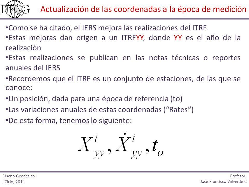 Como se ha citado, el IERS mejora las realizaciones del ITRF. Estas mejoras dan origen a un ITRFYY, donde YY es el año de la realización Estas realiza