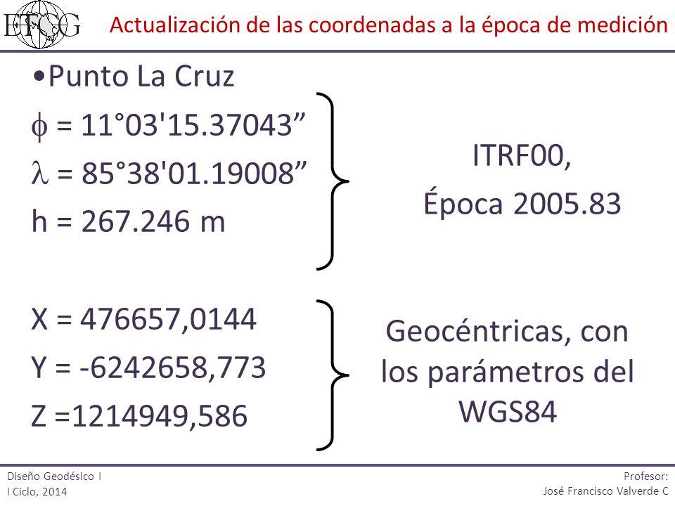 Punto La Cruz = 11°03'15.37043 = 85°38'01.19008 h = 267.246 m X = 476657,0144 Y = -6242658,773 Z =1214949,586 ITRF00, Época 2005.83 Geocéntricas, con