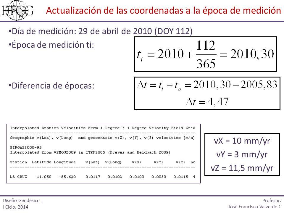 Día de medición: 29 de abril de 2010 (DOY 112) Época de medición ti: Diferencia de épocas: Diseño Geodésico I I Ciclo, 2014 Profesor: José Francisco V