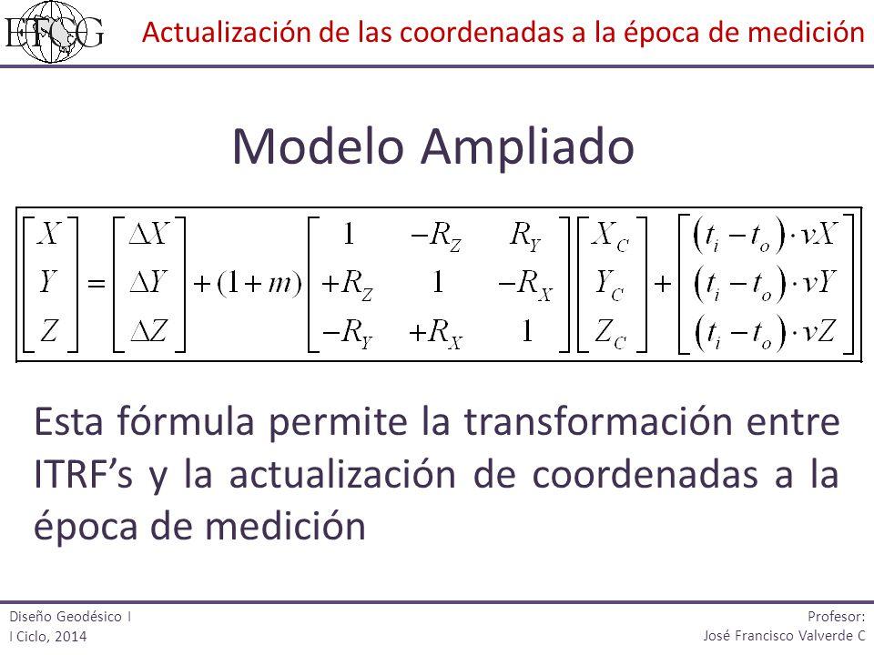Modelo Ampliado Esta fórmula permite la transformación entre ITRFs y la actualización de coordenadas a la época de medición Diseño Geodésico I I Ciclo
