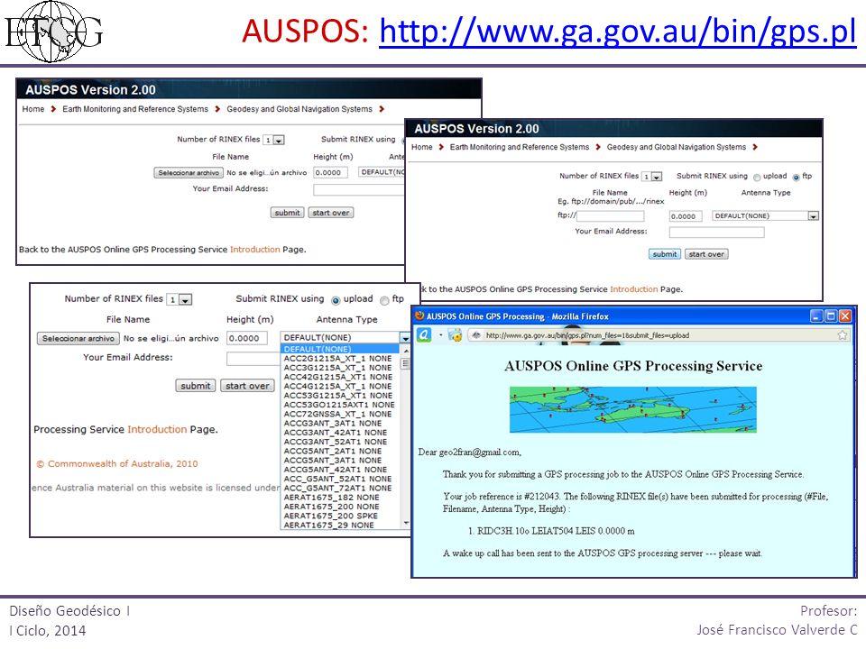 AUSPOS: http://www.ga.gov.au/bin/gps.plhttp://www.ga.gov.au/bin/gps.pl Profesor: José Francisco Valverde C Diseño Geodésico I I Ciclo, 2014