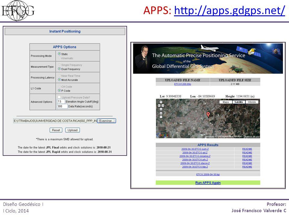 Profesor: José Francisco Valverde C Diseño Geodésico I I Ciclo, 2014 APPS: http://apps.gdgps.net/http://apps.gdgps.net/