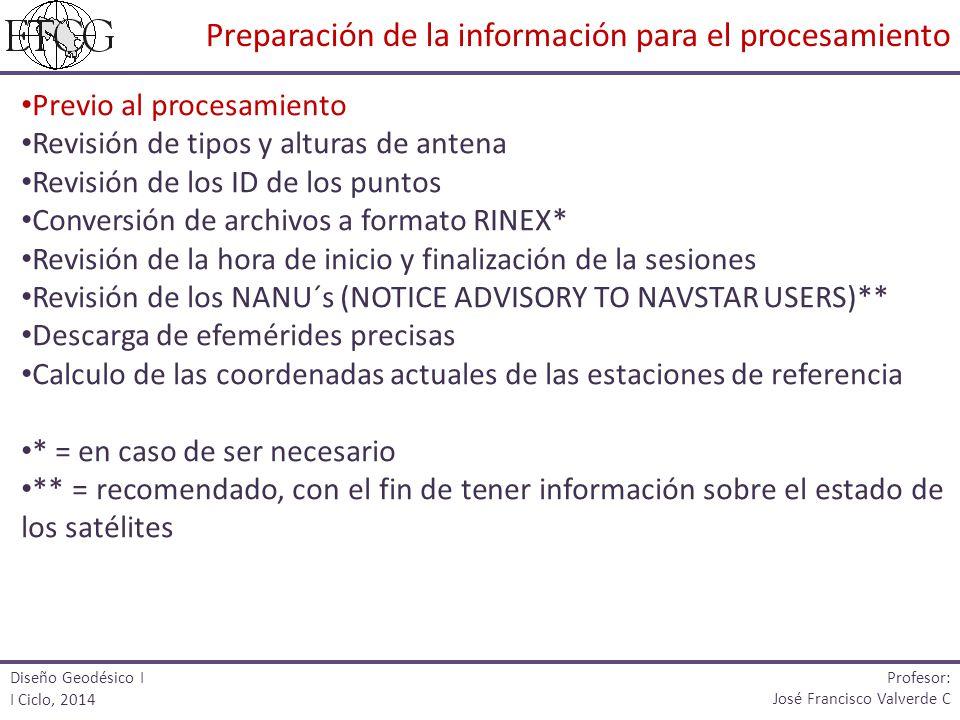 Previo al procesamiento Revisión de tipos y alturas de antena Revisión de los ID de los puntos Conversión de archivos a formato RINEX* Revisión de la