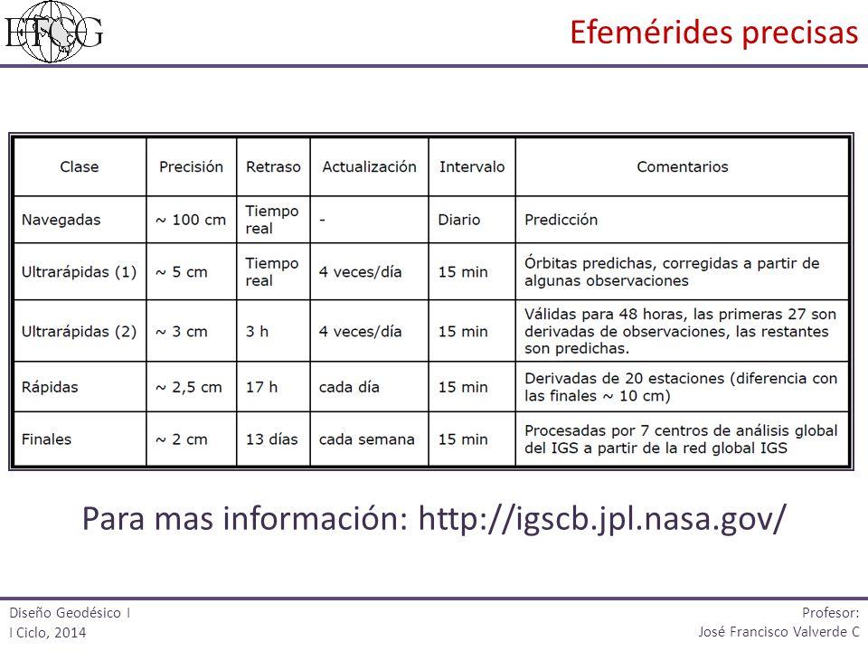 Para mas información: http://igscb.jpl.nasa.gov/ Diseño Geodésico I I Ciclo, 2014 Profesor: José Francisco Valverde C Efemérides precisas