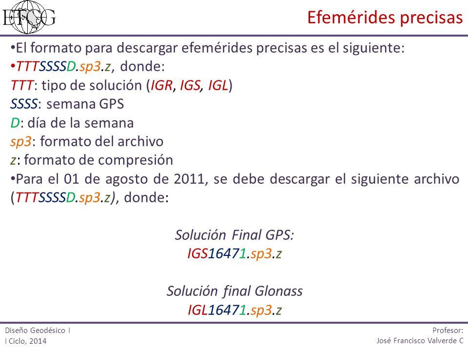 El formato para descargar efemérides precisas es el siguiente: TTTSSSSD.sp3.z, donde: TTT: tipo de solución (IGR, IGS, IGL) SSSS: semana GPS D: día de