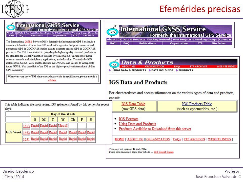 Diseño Geodésico I I Ciclo, 2014 Profesor: José Francisco Valverde C Efemérides precisas