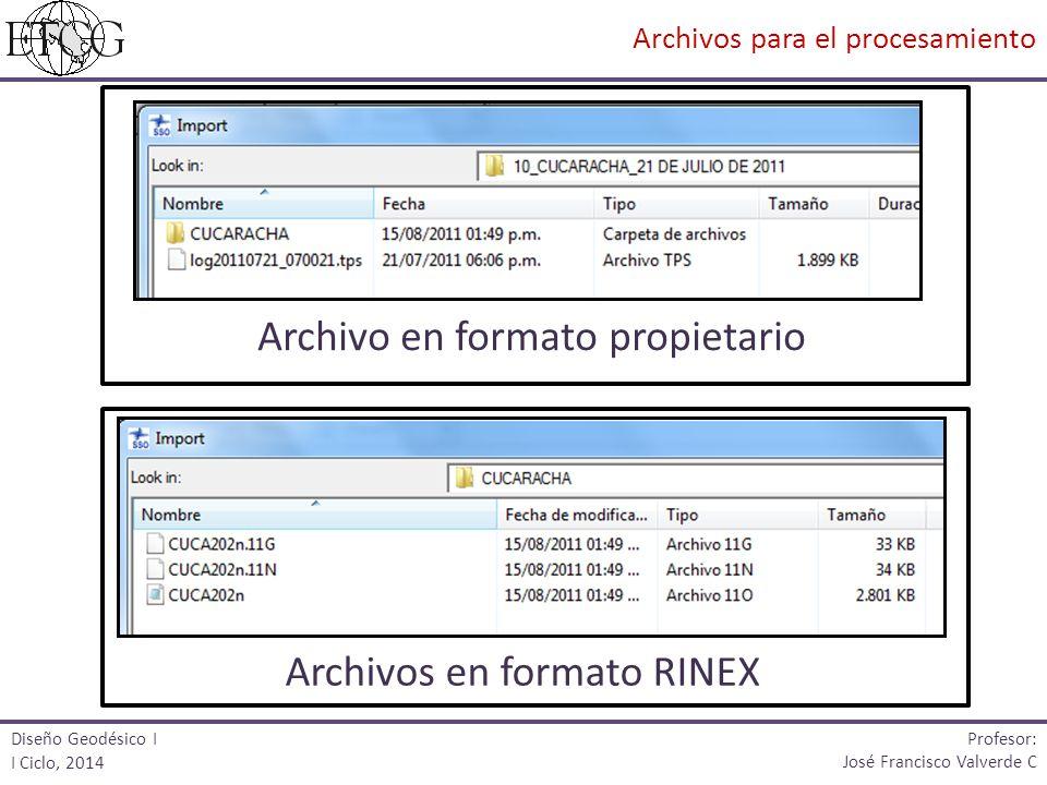 Archivo en formato propietario Archivos en formato RINEX Diseño Geodésico I I Ciclo, 2014 Profesor: José Francisco Valverde C Archivos para el procesa