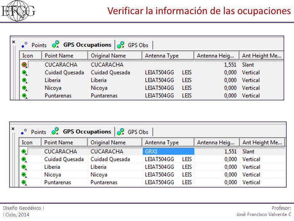 Diseño Geodésico I I Ciclo, 2014 Profesor: José Francisco Valverde C Verificar la información de las ocupaciones