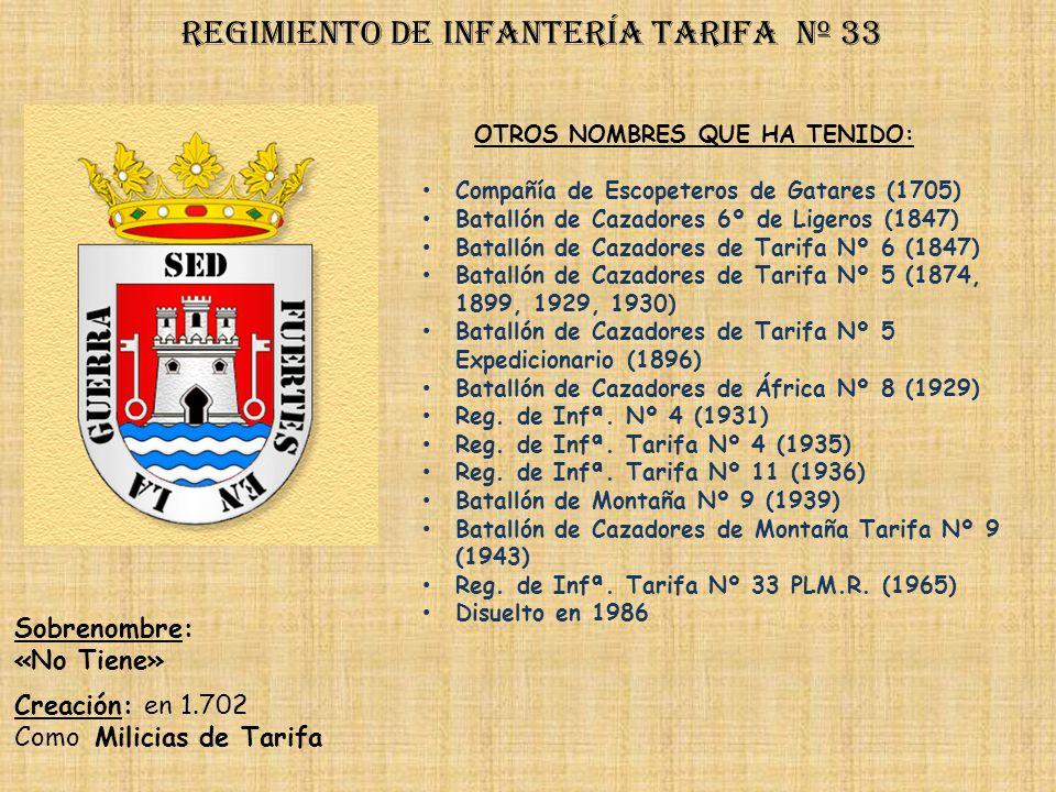 Regimiento de Infantería DE LA REINA nº 2 Regimiento de Infantería alcántara nº 33 PRINCIPALES HECHOS DE ARMAS Guerras de África (1859-1860, 1921-1922