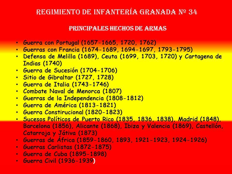 Sobrenombre: «El Arrojado» Creación: en 1.657 Como Tercio del Casco de Granada OTROS NOMBRES QUE HA TENIDO: Regimiento del Casco de Granada (1704) Reg