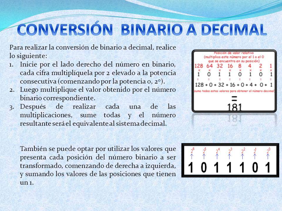 Para realizar la conversión de binario a decimal, realice lo siguiente: 1.Inicie por el lado derecho del número en binario, cada cifra multiplíquela p