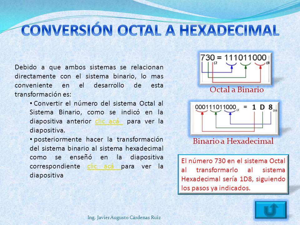Ing. Javier Augusto Cárdenas Ruiz Debido a que ambos sistemas se relacionan directamente con el sistema binario, lo mas conveniente en el desarrollo d