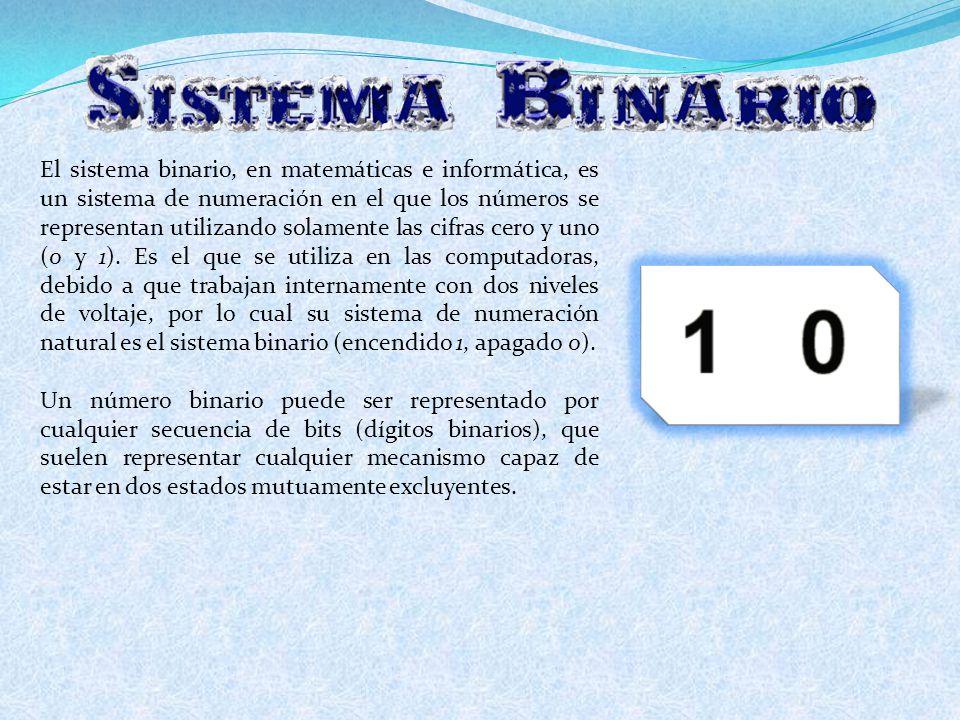 El sistema binario, en matemáticas e informática, es un sistema de numeración en el que los números se representan utilizando solamente las cifras cer