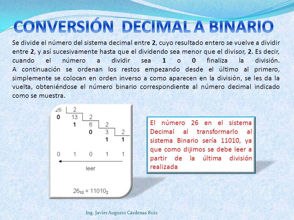 Ing. Javier Augusto Cárdenas Ruiz Se divide el número del sistema decimal entre 2, cuyo resultado entero se vuelve a dividir entre 2, y así sucesivame