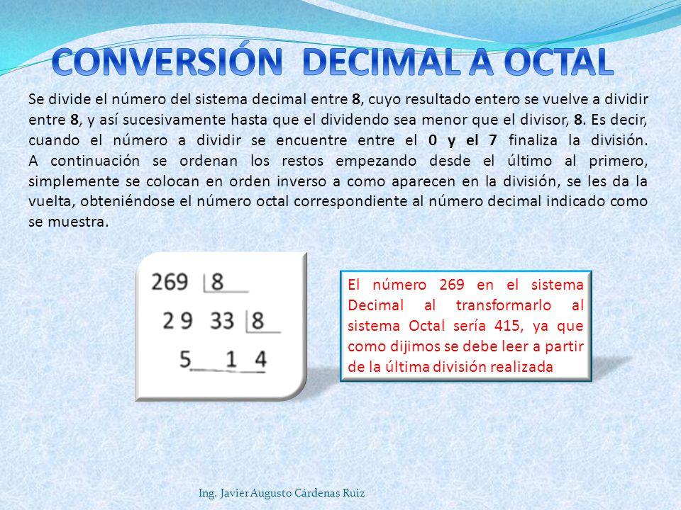 Ing. Javier Augusto Cárdenas Ruiz Se divide el número del sistema decimal entre 8, cuyo resultado entero se vuelve a dividir entre 8, y así sucesivame
