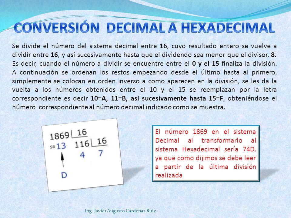 Ing. Javier Augusto Cárdenas Ruiz Se divide el número del sistema decimal entre 16, cuyo resultado entero se vuelve a dividir entre 16, y así sucesiva