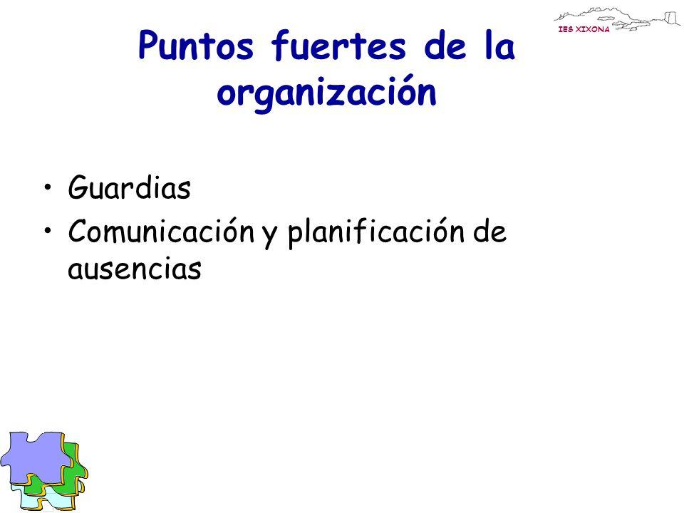 IES XIXONA Puntos fuertes de la organización Guardias Comunicación y planificación de ausencias