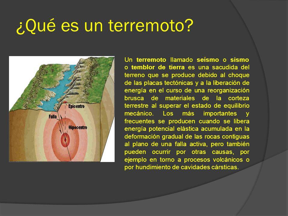 ¿Qué es un terremoto? Un terremoto llamado seísmo o sismo o temblor de tierra es una sacudida del terreno que se produce debido al choque de las placa