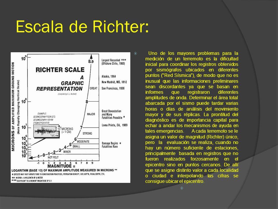 Escala de Richter: Uno de los mayores problemas para la medición de un terremoto es la dificultad inicial para coordinar los registros obtenidos por s
