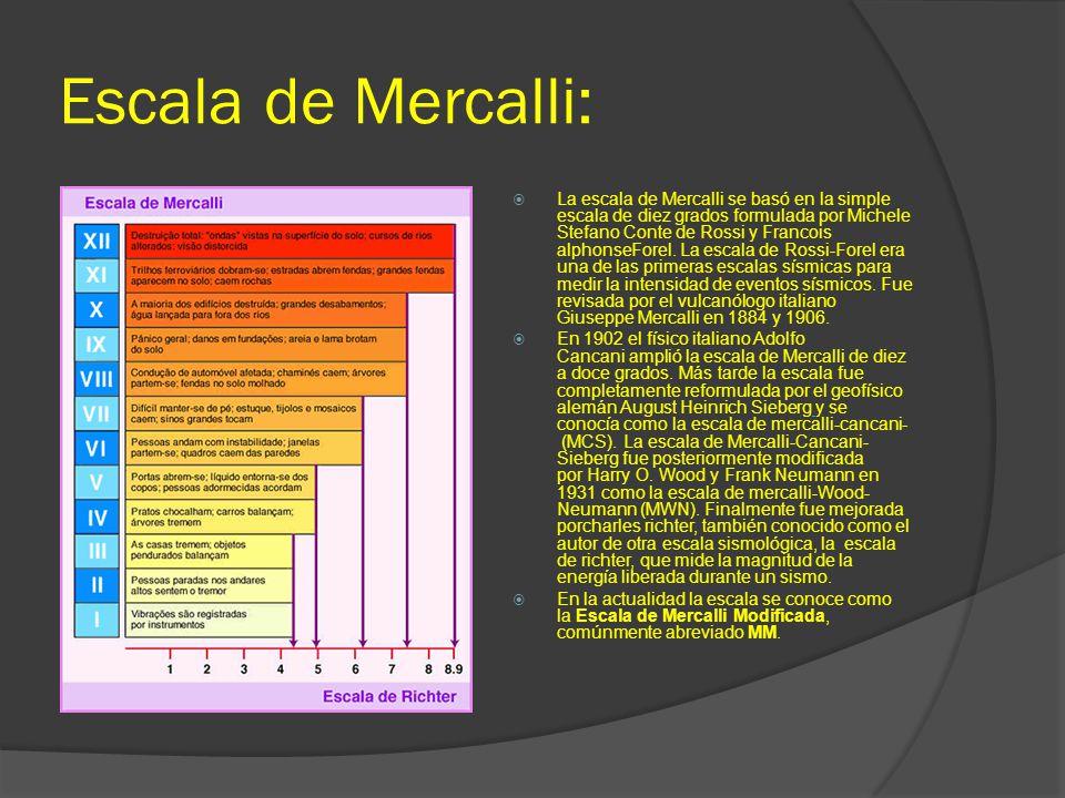 Escala de Mercalli: La escala de Mercalli se basó en la simple escala de diez grados formulada por Michele Stefano Conte de Rossi y Francois alphonseF