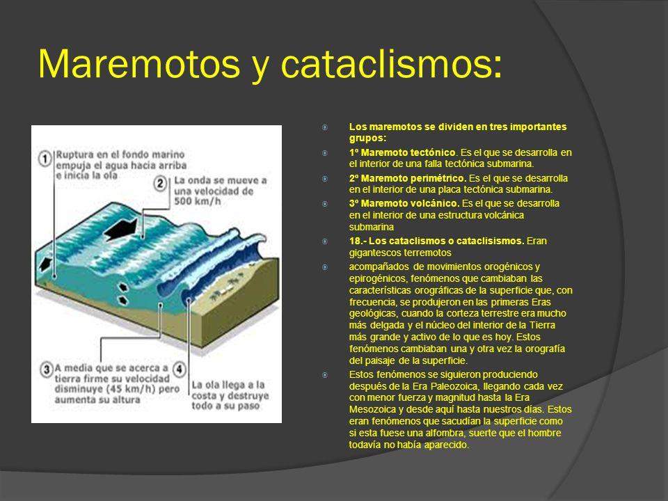Maremotos y cataclismos: Los maremotos se dividen en tres importantes grupos: 1º Maremoto tectónico. Es el que se desarrolla en el interior de una fal