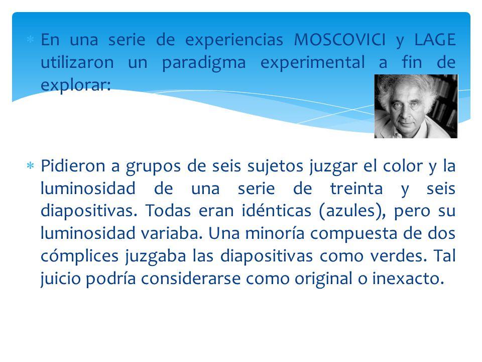 En una serie de experiencias MOSCOVICI y LAGE utilizaron un paradigma experimental a fin de explorar: Pidieron a grupos de seis sujetos juzgar el color y la luminosidad de una serie de treinta y seis diapositivas.