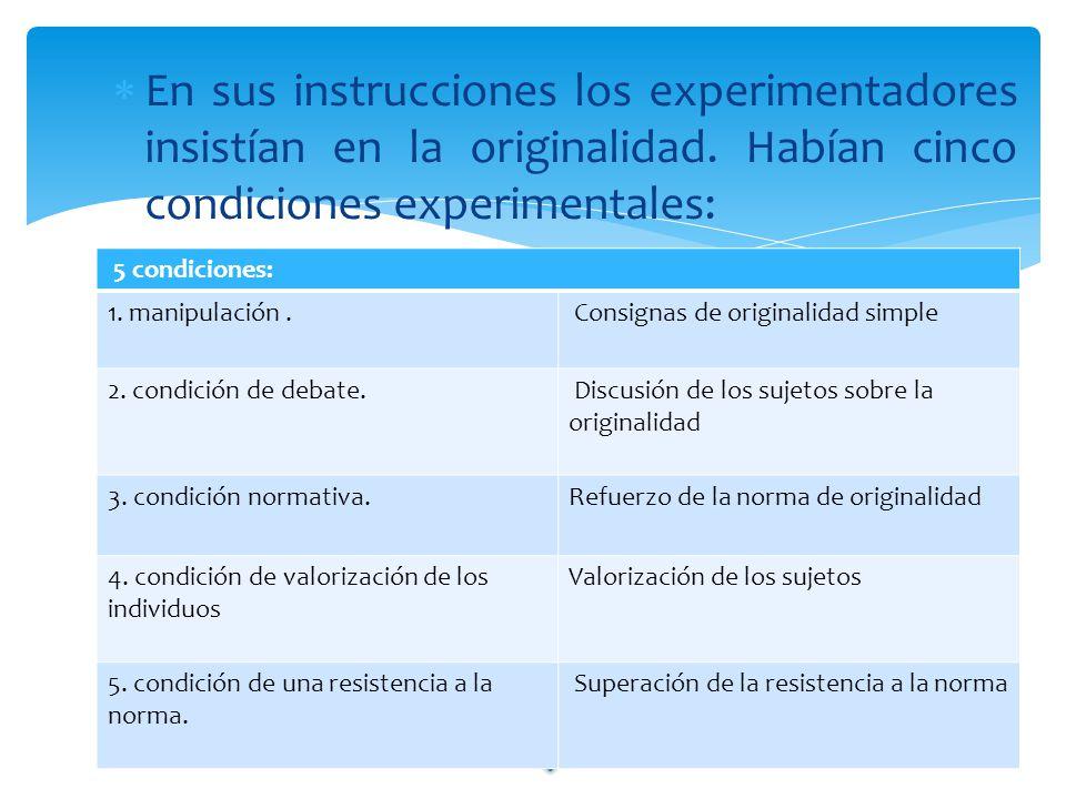 En sus instrucciones los experimentadores insistían en la originalidad. Habían cinco condiciones experimentales: 5 condiciones: 1. manipulación. Consi