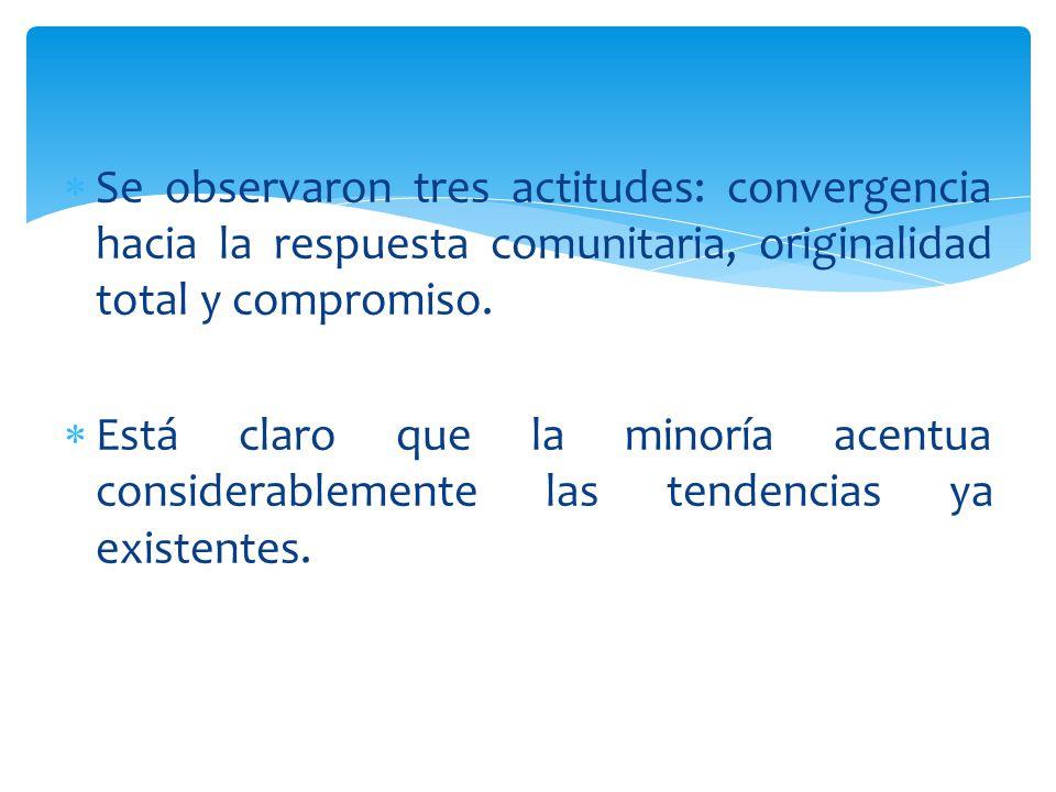 Se observaron tres actitudes: convergencia hacia la respuesta comunitaria, originalidad total y compromiso. Está claro que la minoría acentua consider