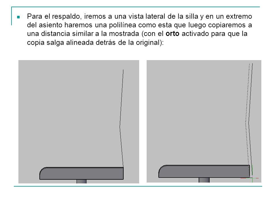 Para el respaldo, iremos a una vista lateral de la silla y en un extremo del asiento haremos una polilínea como esta que luego copiaremos a una distan